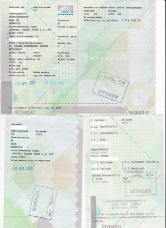 dowód rejestracyjny holenderski